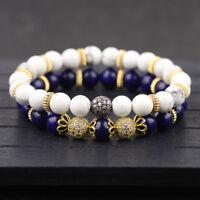 2Pcs/set Fashion Matching Petal Balls Couples Bracelets Cz Beads Lovers Bracelet