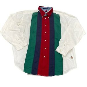 Vintage Tommy Hilfiger Colorblock Button-Down Shirt (XL) *Has some staining