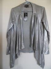 Slinky® Brand 3/4-Slv Long Sweater Knit Open Front Silver Sz Small New