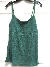 LOVE ROCKS Women's Green Paisley Spaghetti Strap Cami Tank Size XL Semi-Sheer