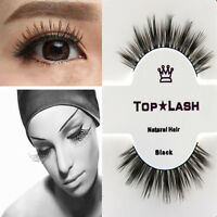 Real Black Handmade Natural Mink Hair Long Thick Eye Lashes False Eyelashes Set