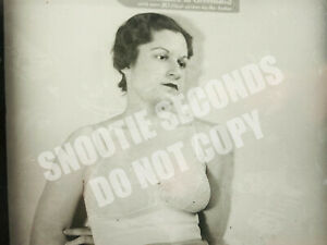 Antique Photo Glass Slide Risque Brothel Worker 20s 30s in Bra