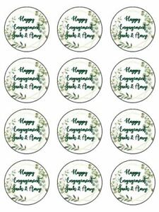 engagement personalised foliage edible printed cupcake Toppers Wafer icing