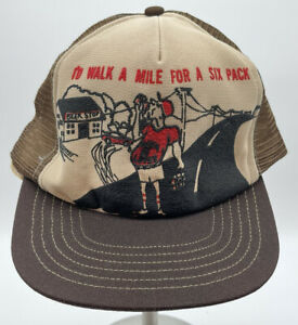 Vintage 70s 80s Walk A Mile For A 6 Pack Snapback Trucker Hat Cap Dixie Southern