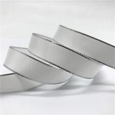 "5Yards 5/8"" 15mm Silver Metallic Edge Satin Ribbon Wedding Christmas Decoration"