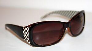 ROCCO Designer BROWN Sunglasses +1.0 +1.5 +2.0 +2.5 READER * BIFOCAL Plaid Trim