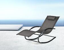 SoBuy®Garden Rocking Deck Chair,Sun Lounger with Footrest,Recliners,OGS28-SCH,UK