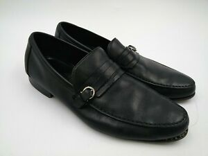 Salvatore Ferragamo Leather Strap Loafers - 10 EE - MS 12390 - FOR REPAIR
