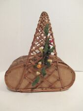 Wonderful Vintage 1950's Wood/Rattan/Bamboo Purse with Fruit Spray