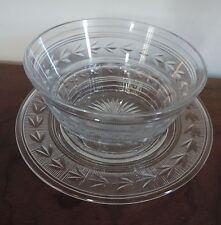 Antique Cut Glass Finger Bowl & Plate Tray Brilliant Heavy Bell Flower Edwardian