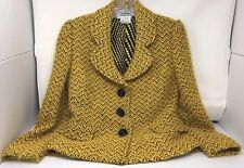 CARLISLE Silk-Wool Blend Gold & Black Shorter Length, Boucle Jacket; Size 0