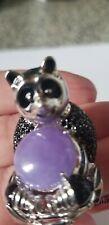 Burmese Purple Jade Black Spinel Sterling 925 Panda Ring size 7
