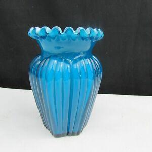 Fenton Jamestown Blue Overlay Ribbed Vase CBL
