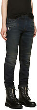BALMAIN 1400$ Authentic New Stretch Cotton Indigo Blue Biker Denim Jeans sz 33
