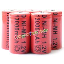 5 x formato D 13000mAh batteria ricaricabile Ni-MH 1,2 V Colore Rosso Nuovo