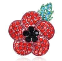 Lest We Forget Poppy Flower Metal Pin Badges Brooch Crystal for Remembrance Gift