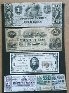Selling lot of 6 Erie Pa Pennsylvania Notes National Obsolete Fractional