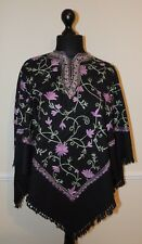 Kashmir Poncho Black with Lilac all-over - New - India - Ethnic (item xp23b)