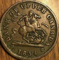 1854 BANK OF UPPER CANADA DRAGONSLAYER ONE PENNY TOKEN COIN