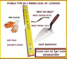 """STABILA  96-2 RIBBED BUILDER'S LEVEL  48"""" -19/11 MARSHALLOWN TROWEL & 81 JOINTER"""