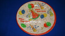 Vtg Paper Plates Happy New Year Party Plastic Coated Set of 8 Nip (U.S.A.)#A