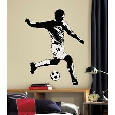 SOCCER PLAYER WALL DECAL New Giant Black & White Sports Stickers Boys Room Mural