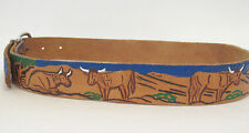 Vtg Hand Tooled Hand Painted Leather Belt Western Theme Cattle Cowboys Horses
