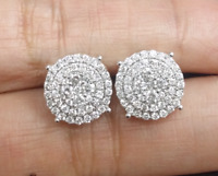 DEAL! 1.25CT NATURAL ROUND DIAMOND CLUSTER FLOWER  STUDS EARRING 10K GOLD 11MM