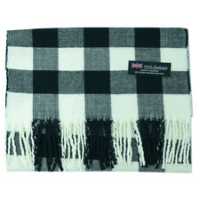 Unisex 100% Cashmere Buffalo Square Check Scarf Wrap Scotland with Tassels Black