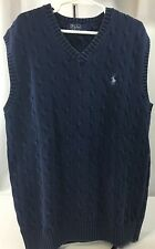 Polo Ralph Lauren Boys L Large Sweater Vest Navy Cable Knit V-Neck 100% Cotton