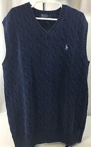 Polo Ralph Lauren Boys L Large Sweater Vest Navy Cable Knit V-Neck 100% Cotton