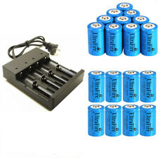 16340 Battery 1800mAh CR123A 3.7V Rechargeable Li-ion 4 slots Smart  Charger
