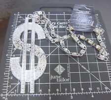 Big Dollar sign Necklace w Silver colored chunky chain, silver Color Pendant NEW