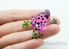 Figurine Animal Miniature Hand Blown Glass Purple Frog - GPFR086