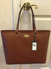 NWT RALPH LAUREN CHISWELL CLASSIC LEATHER TOTE HANDBAG PURSE BOURBON BROWN