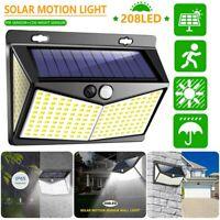 208 LED Solar Lamp Power Light PIR Motion Sensor Outdoor Wall Waterproof Garden