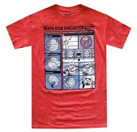 Star Wars Death Star Evacuation Steps Red Heather Men's T-Shirt New