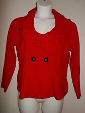 Alfani Womens Size PL Solid Red Short Sweater Big Collar Double Breasted Long Sl