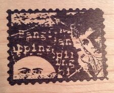 The Vision Moon Woman Foreign Text Collage Acey Deucy Rubber Stamp Aa664
