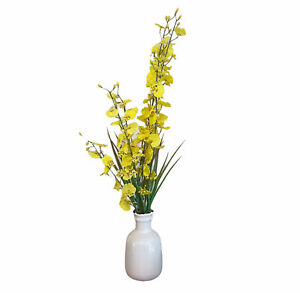 White Vase Decor Rustic Home Decor Modern Farmhouse Decorations Yellow Flowers