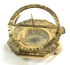 Solid Brass Nautical Sundial & Compass Working Marine Prop Vintage Collectible