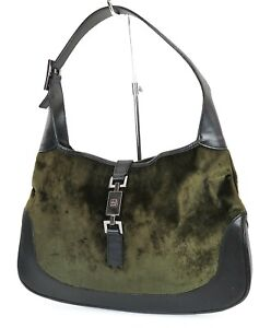 Auth GUCCI Jackie O Green Velour and Black Leather Tote Hand Bag Purse #39205