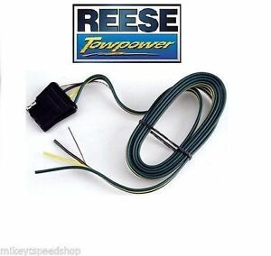 """REESE 4 WAY FLAT 60"""" trailer WIRING HARNESS VEHICLE END connector TOWING adapter"""