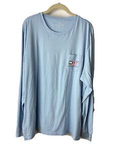 vineyard vines mens long sleeve xxl Tee Shirt Ski Whale Snow Light Blue
