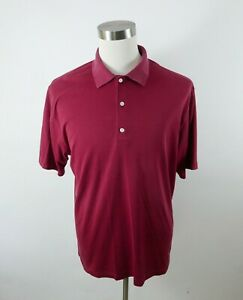 Greg Norman Mens Polyester Blend Play Dry SS Burgundy Red Golf Polo Shirt Large