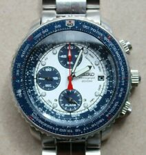 Seiko SNA413 (7T62-0EB0) Blue White Panda Chronograph Pilot's FlightMaster Watch