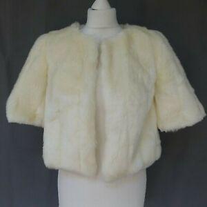 Women Monsoon ivory faux fur bolero jacket size 10