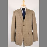John W. Nordstrom 42L Beige Check Silk Two Button Sport Coat Blazer Jacket