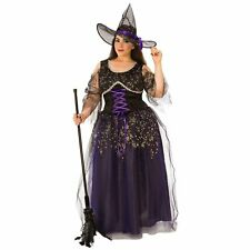 Midnight Witch Costume Women Halloween Black Purple Silver Dress Hat Plus Size