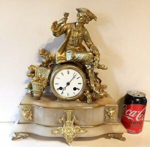 """Antique MARTI Figural Statue Clock """"THE WINERY"""" 8 Day Time & Strike Mantle Clock"""